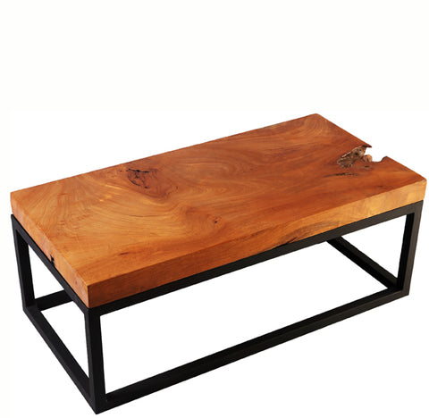 Solid Teak Top and Black Metal Base Coffee Table - Dyag East