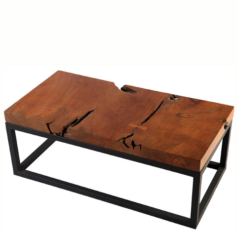Solid Teak Top and Black Metal Base Coffee Table 1 - Dyag East