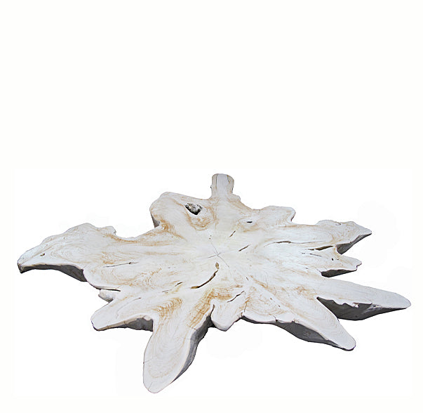 Bleached White Organic Teak Root Living Edge Coffee Table - Dyag East
