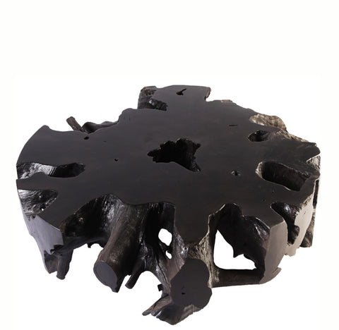 Black Round Teak Root Coffee Table - Dyag East