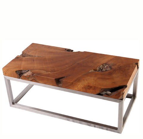 Solid Teak Top and Stainless Steel Base Coffee Table - Dyag East