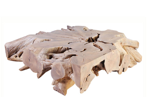 Bleached White Organic Teak Root Coffee Table