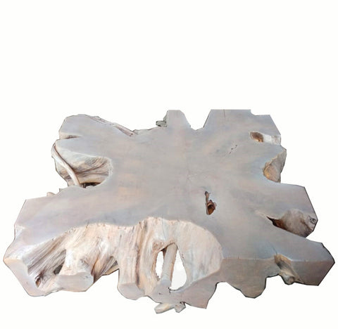 Bleach White Organic Teak Root Coffee Table 2