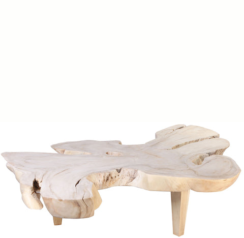 Bleached White One Slab Living Edge Coffee Table
