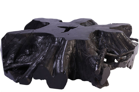 "62"" Inch D Round Black Organic Teak Root Coffee Table 22"