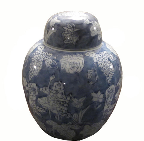 Vintage Round Blue and White Jar - Dyag East