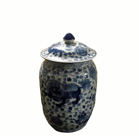 Vintage Small Blue and White Jar - Dyag East