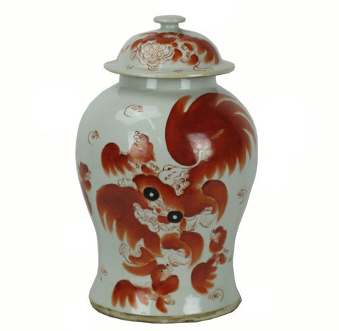 Red Dancing Lion Jar - Dyag East
