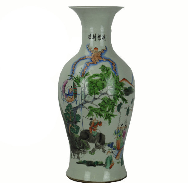 Tall Vintage Chinese Famille Rose Porcelain Vase - Dyag East