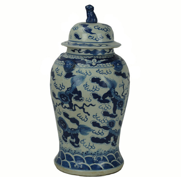 Z-Vintage Blue and White Porcelain Jar with Hand Painted Mystic Creatures - Dyag East