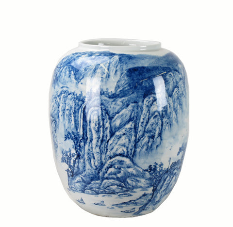 Blue and White Porcelain Blue Mountain Vase - Dyag East