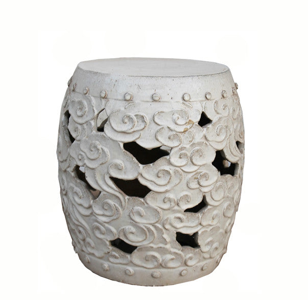 White Ceramic Garden Stool - Dyag East