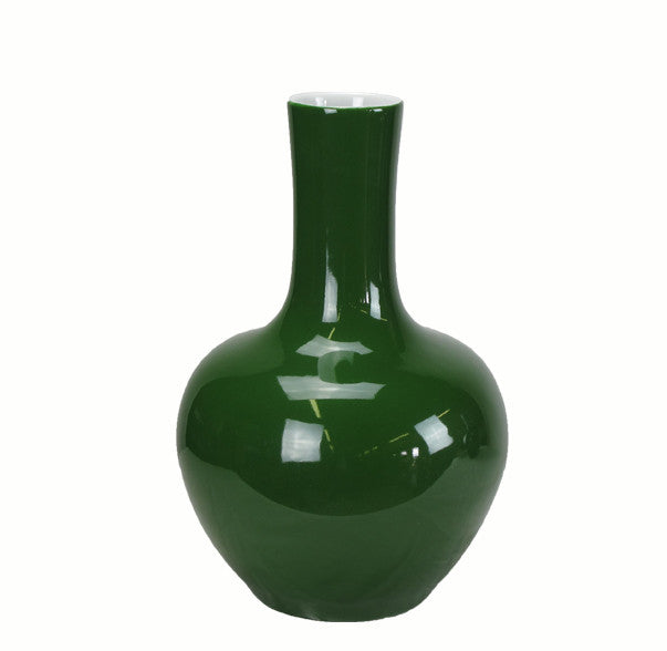 Dark Green Long Neck Porcelain Vase - Dyag East