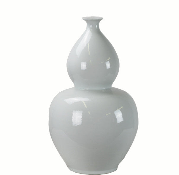Large White Bottle Gourd Porcelain Vase - Dyag East