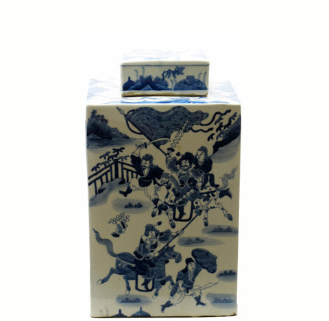 Blue and White Square Tea Jar