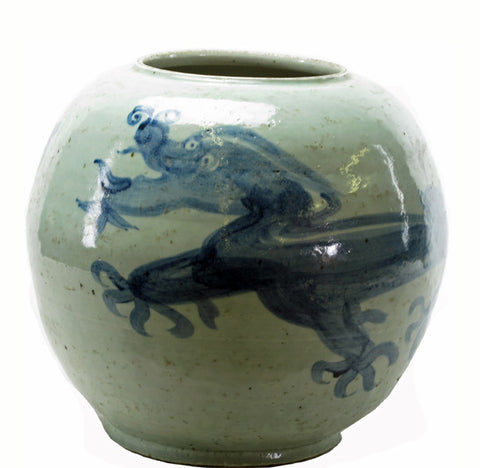 Round Blue & White Dragon Vase - Dyag East