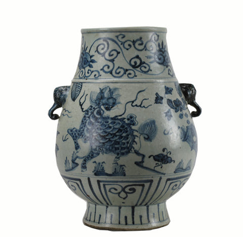 Blue and White Mystic Animal Vase - Dyag East