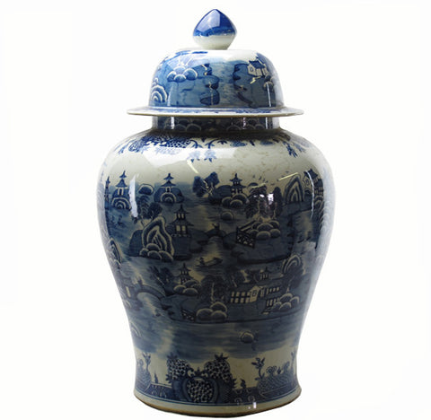 Z-Grand Blue and White Oriental Decorative Jar - Dyag East