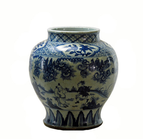 Blue and White Hand Painted Figure Decorative Vase - Dyag East