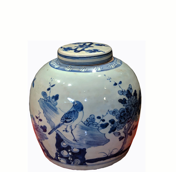 Z-Blue and White Porcelain Birds Ginger Jar With Lid - Dyag East