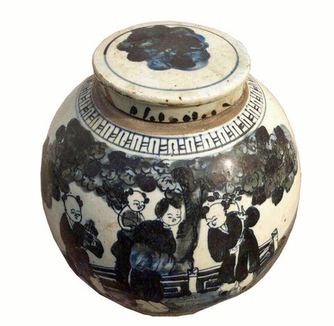 Z-Blue and White Porcelain Kid Figures Ginger Jar With Lid - Dyag East
