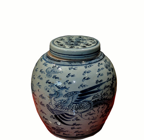 Blue and White Porcelain Dragon & Phoenix Ginger Jar With Lid - Dyag East