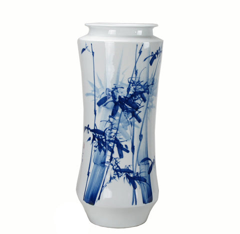 Blue and White Porcelain Bamboo Vase - Dyag East