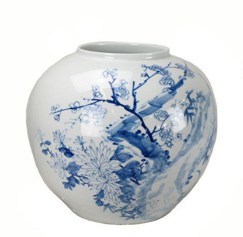 Blue and White Porcelain Melon Plum Flower Vase - Dyag East