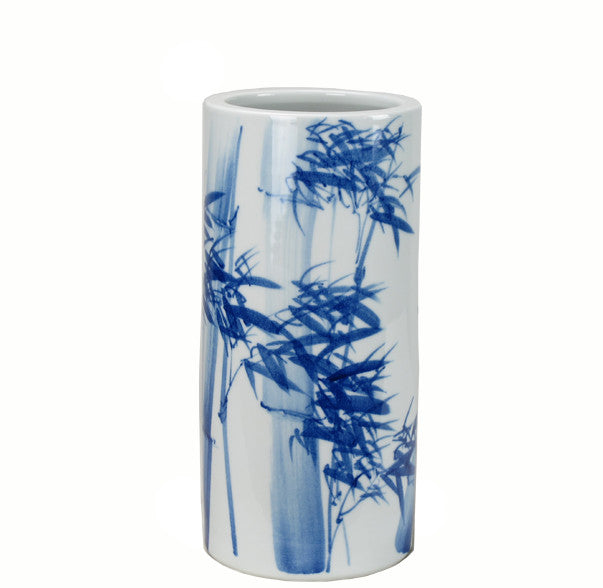 Z-Blue and White Porcelain Waving Bamboo Vase - Dyag East