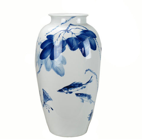 Blue and White Porcelain Leaves & Fish Vase - Dyag East