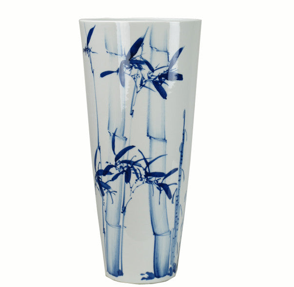 Blue and White Porcelain Tall Peace Bamboo Vase - Dyag East
