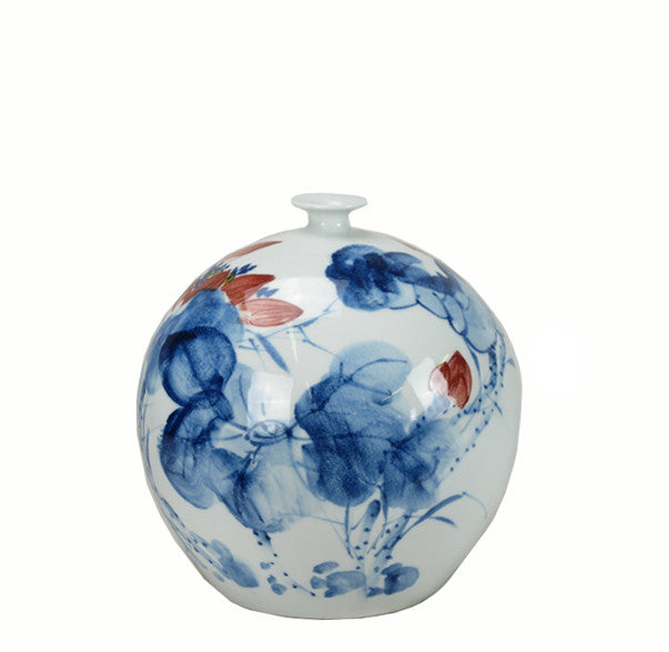 Z-Blue White Red Porcelain Round Vase - Dyag East