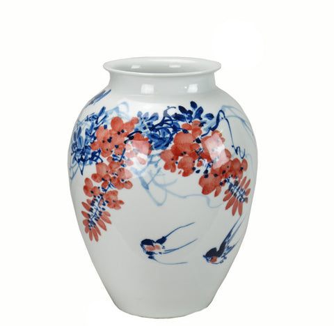 Z-Blue & White and Red Flower Porcelain Vase - Dyag East