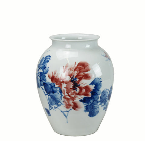 Blue & White Red Flower Little Pink Bugs Porcelain Vase - Dyag East