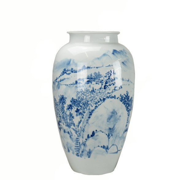 Z-Blue and White Porcelain Nature & Mountain Vase - Dyag East