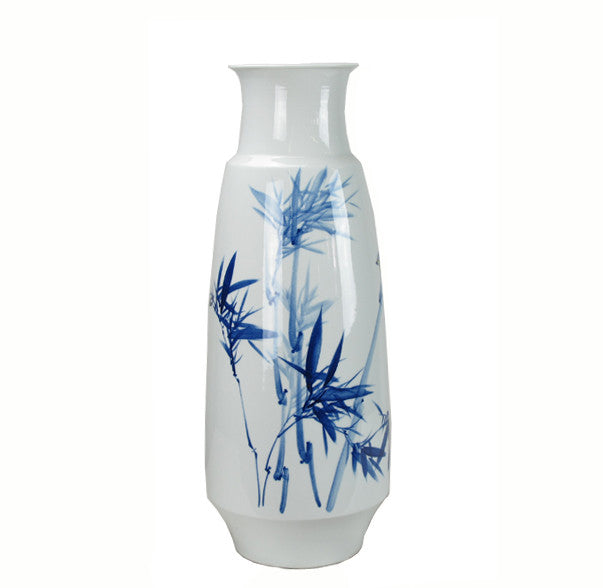 Blue and White Porcelain Bamboo and Two Birds Vase - Dyag East