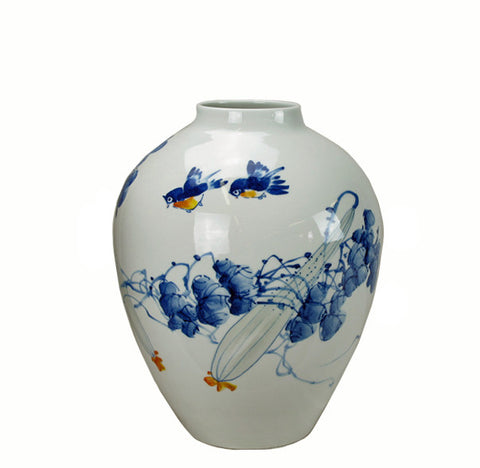 Blue and White Porcelain Birds and Grape Vines Vase - Dyag East