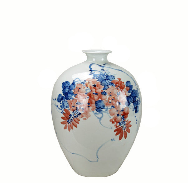 Blue & White Red Flower and Blue Vines Porcelain Vase - Dyag East