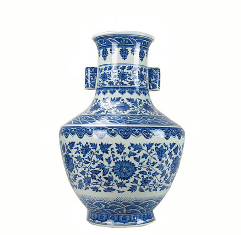 Large Decorative Oriental Porcelain Blue and White Vase - Dyag East