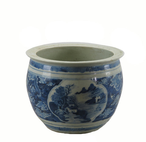 Small Blue and White Planter with Mountain Scene - Dyag East