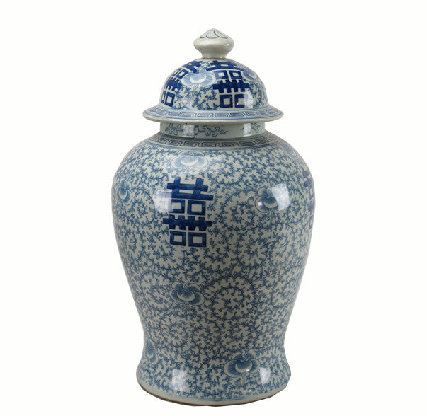 Z-Blue and White Double Happinese Jar - Dyag East
