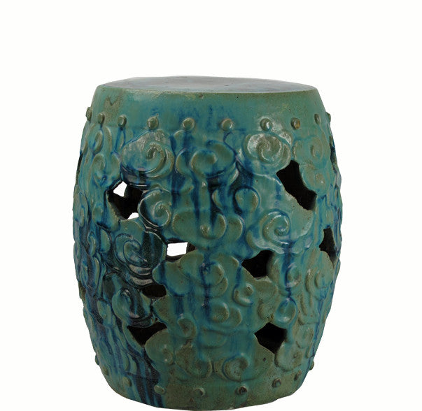 Z-Blue Glazed Ceramic Garden Stool - Dyag East