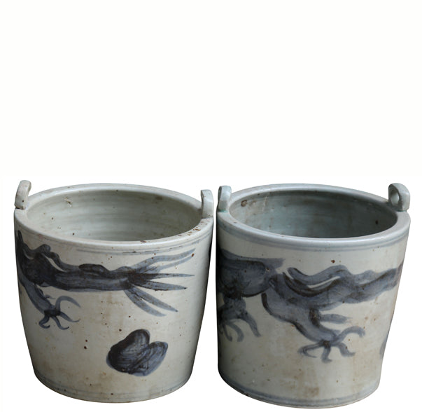 Z-Pair of Blue & White Dragon Planter - Dyag East
