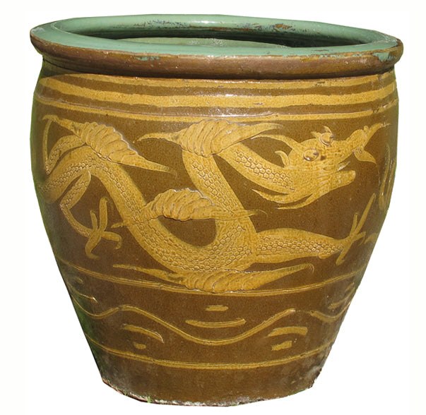 Z-Large Glazed Earthenware Dragon Planter - Dyag East