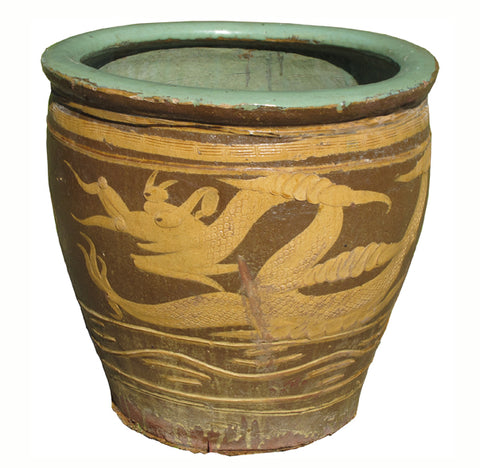 Z-Large Glazed Earthenware Dragon Planter 2 - Dyag East