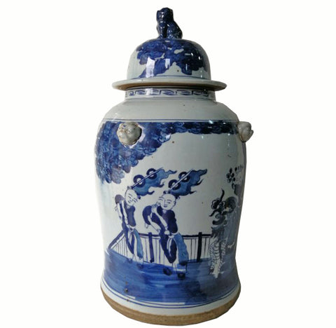 Blue and White Chinese Porcelain Ginger Jar With Hand Painted Playing Children