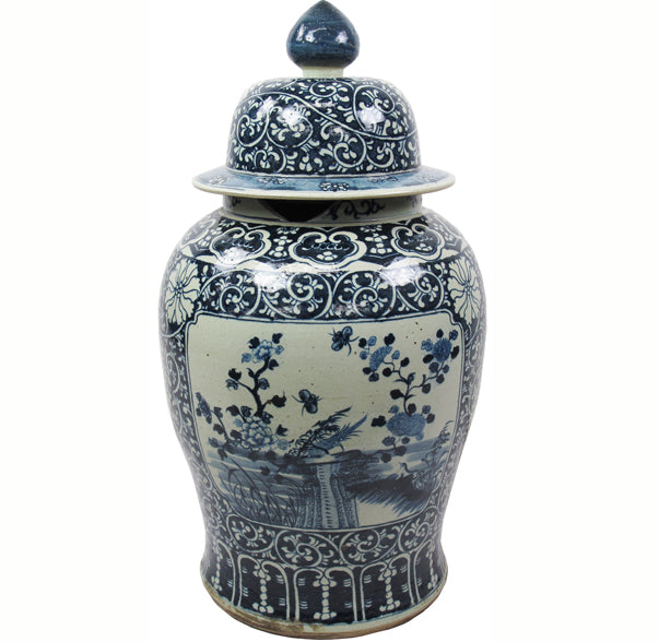35 Inch Tall Grand Blue and White Porcelain Ginger Jar