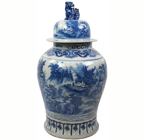 35 Inch Tall Grand Blue & White Porcelain Ginger Jar With Foo Dog Lid