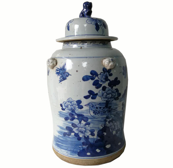 Blue and White Chinese Porcelain Ginger Jar With Flowers & Birds