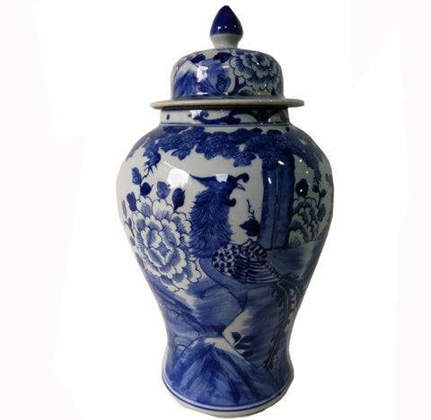 Blue and White Chinese Porcelain Ginger Jar With Birds & Flowers